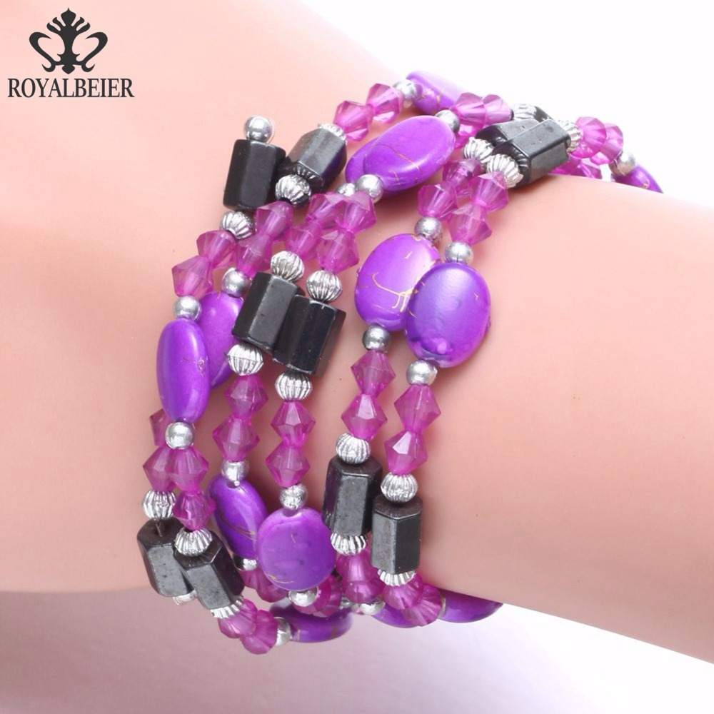 ROYALBEIER Purple Beaded Bracelet Magnet Slim Down Bracelet Bohemia Style For Men & Women Jewelry SZ0495f