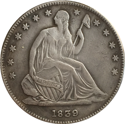 1839 Seted Liberty Half Dollar Монета КОПИЯ